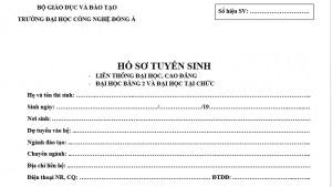 Vỏ của mẫu hồ sơ tuyển sinh Liên thông, Văn bằng 2, Tại chức - Trường Đại học Công nghệ Đông Á