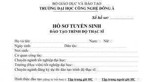 Mẫu hồ sơ tuyển sinh đào tạo trình độ Thạc sĩĐại học công nghệ Đông Á