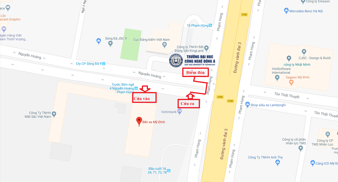 Bản đồ chỉ dẫn đường đi từ đường 32 (Đường Cầu Diễn) - Chương trình nhập học năm học 2019 - 2020