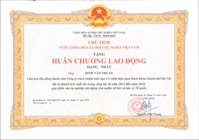 GS. TS Đinh Văn Thuận được Chủ tịch nước tặng thưởng Huân chương Lao động hạng Nhất